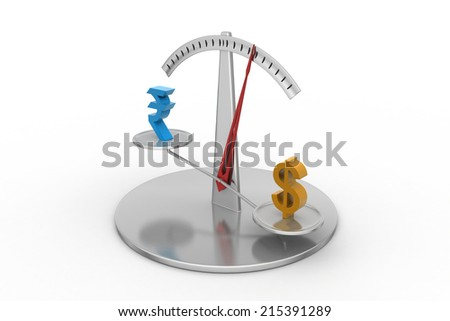 Rupee and dollar on scale - stock photo