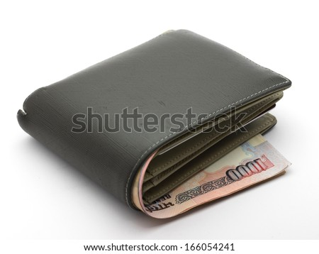 rupee currency money banknote in wallet - stock photo