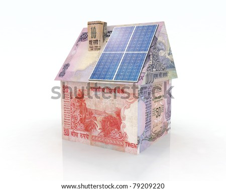 rupee money home with solar panel concept financing - stock photo