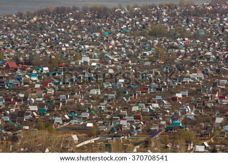 Rural and suburban homes. View from above - stock photo