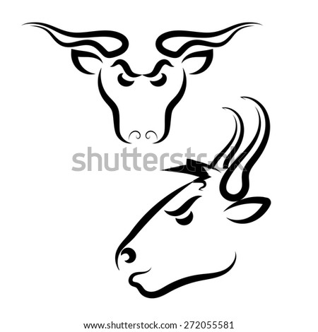 Rural Angry Bull Logo Isolated on White Background - stock photo