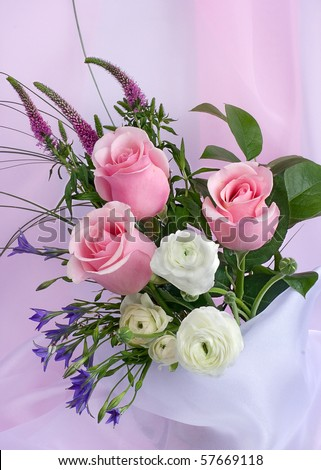 Rural bouquet with pink roses - stock photo