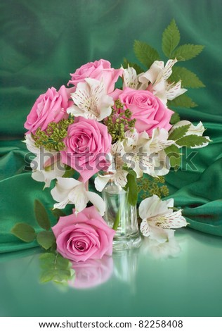 Rural bouquet with roses - stock photo