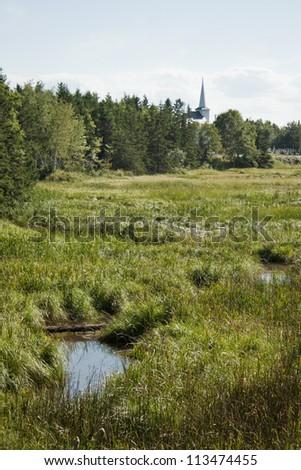 Rural church in Prince Edward Island, Canada. - stock photo