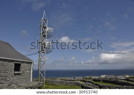 rural communications radio, tv and internet to an island - stock photo