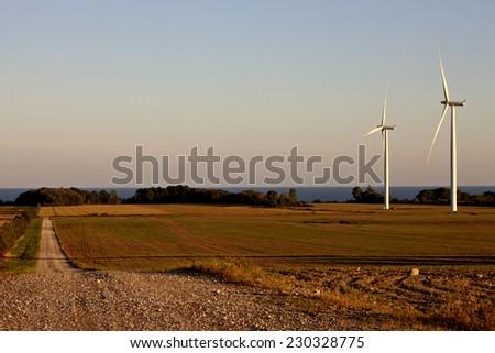 Rural Country scene on Lake Erie Ontario Canada wind farm - stock photo