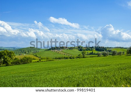 Rural countryside landscape in Tuscany region of Italy. - stock photo
