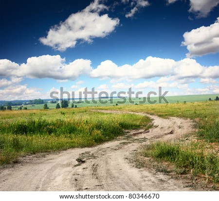 Rural dusty countryside road trough a fields with wild herbs and flowers - stock photo