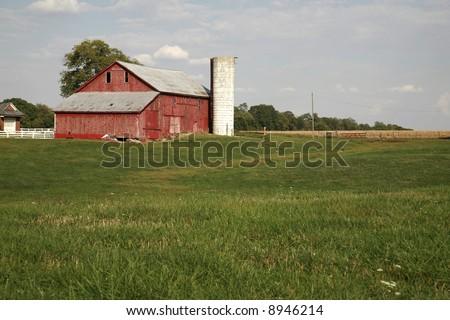 Rural farm scene near Liberty Indiana late fall - stock photo