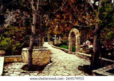 Rural Greek church entrance in a mountain with trees - Painting effect - stock photo
