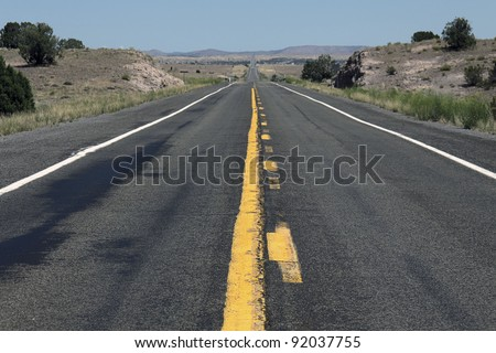 Rural highway in western USA - stock photo