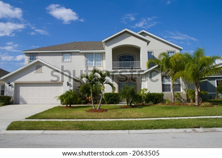Rural Home on a sunny day in Florida - stock photo