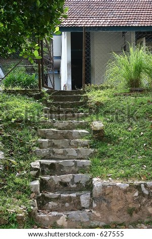 Rural house and stone stair