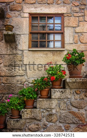 Rural house facades decorated with old vases of flowers - stock photo