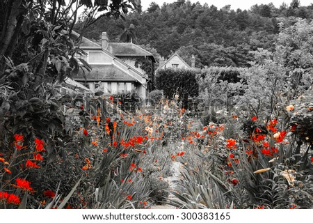 Rural house surrounded by beautiful garden. France. Vacation at countryside background. Retro aged photo. - stock photo