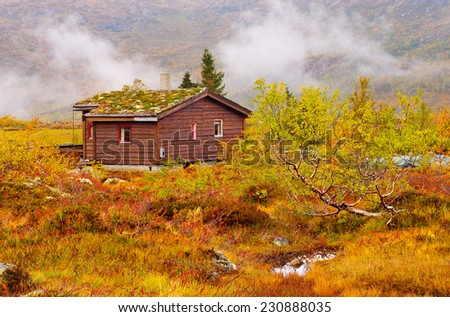 Rural  house with grass roof at the mountains, Norway  - stock photo