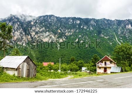 Rural houses in mountain region of Montenegro.   - stock photo
