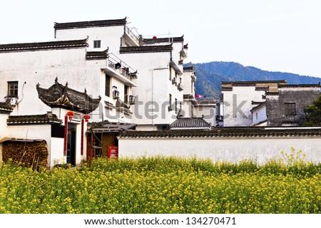 Rural houses in Wuyuan, Jiangxi Province, China. - stock photo