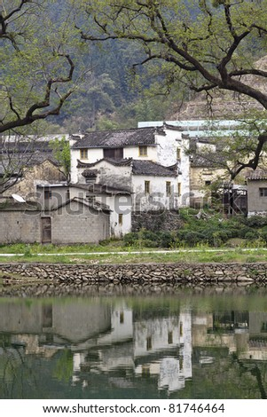rural houses of traditional chinese style in wuyuan county, jiangxi province, china.