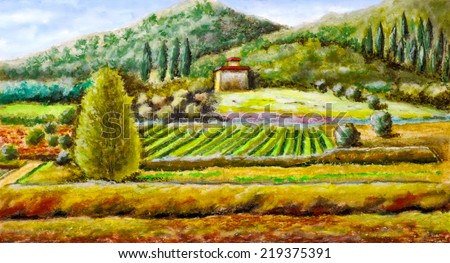 Rural landscape from central Italy. Original hand painted illustration. - stock photo
