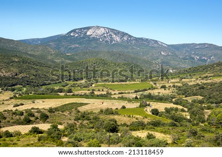 Rural landscape from south-west France, Pyrenees - stock photo