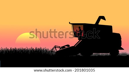 rural landscape, harvesting - stock photo