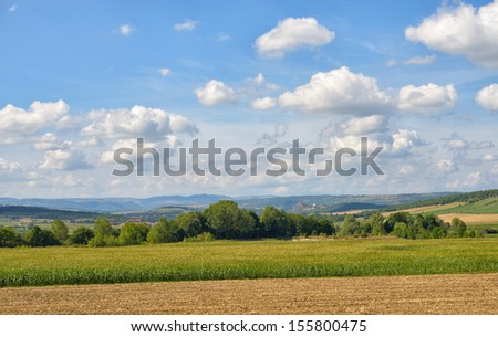 Rural landscape in Auvergne region of France near Massiac in beginning of autumn - stock photo