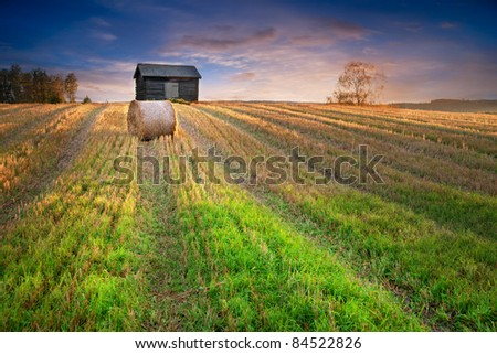 Rural landscape in evening with hay bale in focus in foreground and shed in background - stock photo