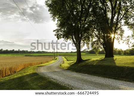 rural landscape in midwest usa