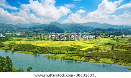 Rural landscape in wuyuan county, jiangxi province, china. - stock photo