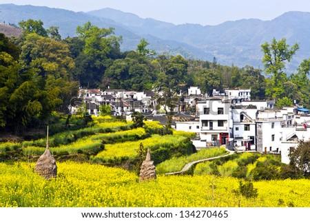 Rural landscape in Wuyuan, Jiangxi Province, China. - stock photo