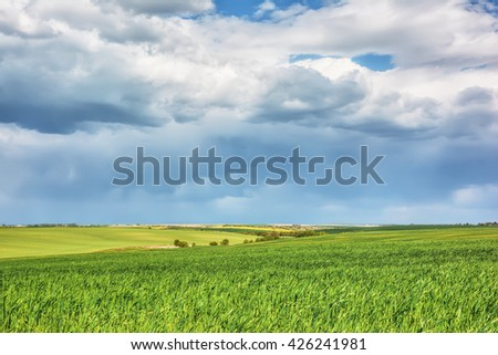 Rural landscape - meadows with blue sky and clouds over them. - stock photo