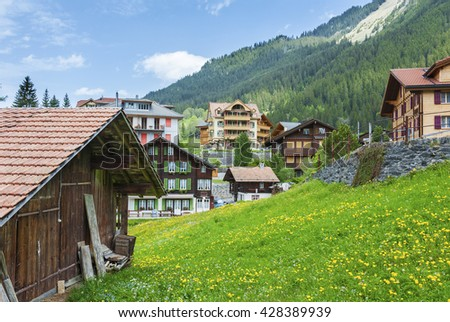 Rural landscape of Wengen, Swiss - stock photo