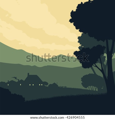 Rural landscape. Silhouette countryside. Raster image. - stock photo