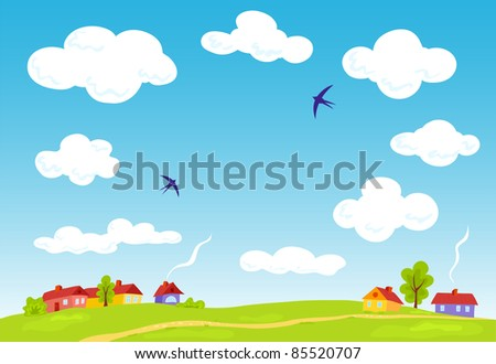 Rural landscape. Vector summer background. Illustration for your text. - stock photo