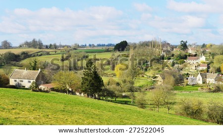 Rural Landscape View of Green Fields Surrounding the Village Tellisford in the Frome Valley on the Somerset Wiltshire Border Near the City of Bath in England - stock photo