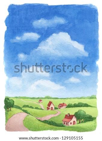 Rural landscape. Watercolor illustration of village - stock photo