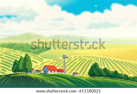 Rural landscape with a beautiful view of distant fields and hills. Raster illustration.