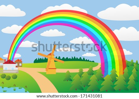 Rural landscape with a rainbow.
