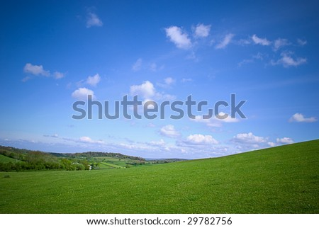 Rural landscape with beautiful blue sky.
