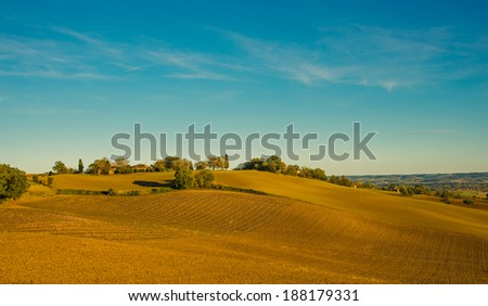 Rural landscape with fields in Midi-Pyrenees at the golden , France - stock photo