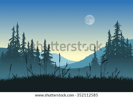 Rural landscape with full moon at dawn.