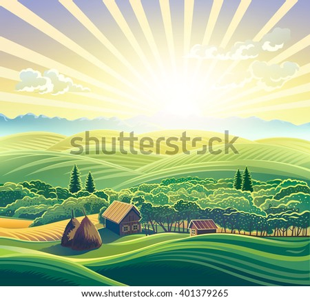 Rural landscape, with houses. Dawn over the mountains, countryside. Raster illustration. - stock photo