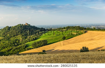 rural landscape with houses standing alone in the province of Tuscany in Italy - stock photo