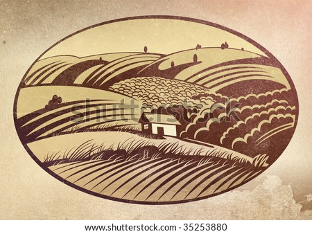 Rural landscape with the Forest house - stock photo