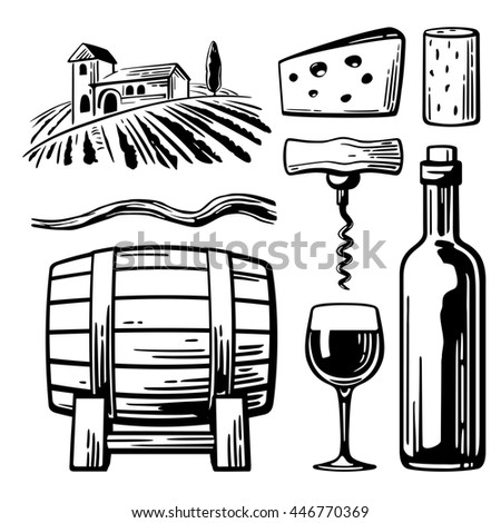 Rural landscape with villa, vineyard fields and hills. Bottle, glass, corkscrew, vine, cork, barrel, cheese. Black and white vintage illustration for label, poster, web, icon. - stock photo