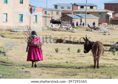 Rural life on the Island of the Sun, Titicaca Lake, Bolivia. About 800 families live on the island. They speak Aymara and Quechua language. - stock photo