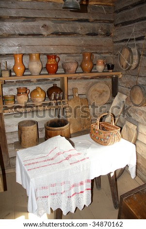 Rural life utensil in Belarus country house interior
