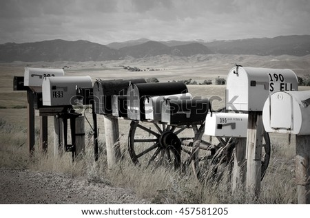 Rural Mailboxes in front of Wyoming's Bighorn Mountains