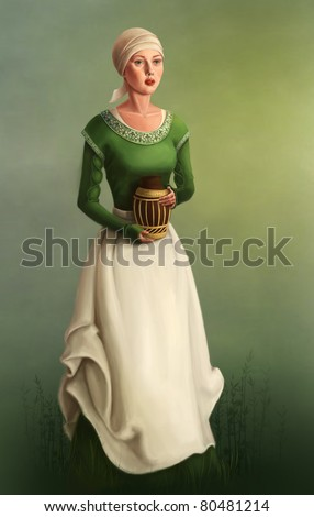 rural medieval woman - stock photo